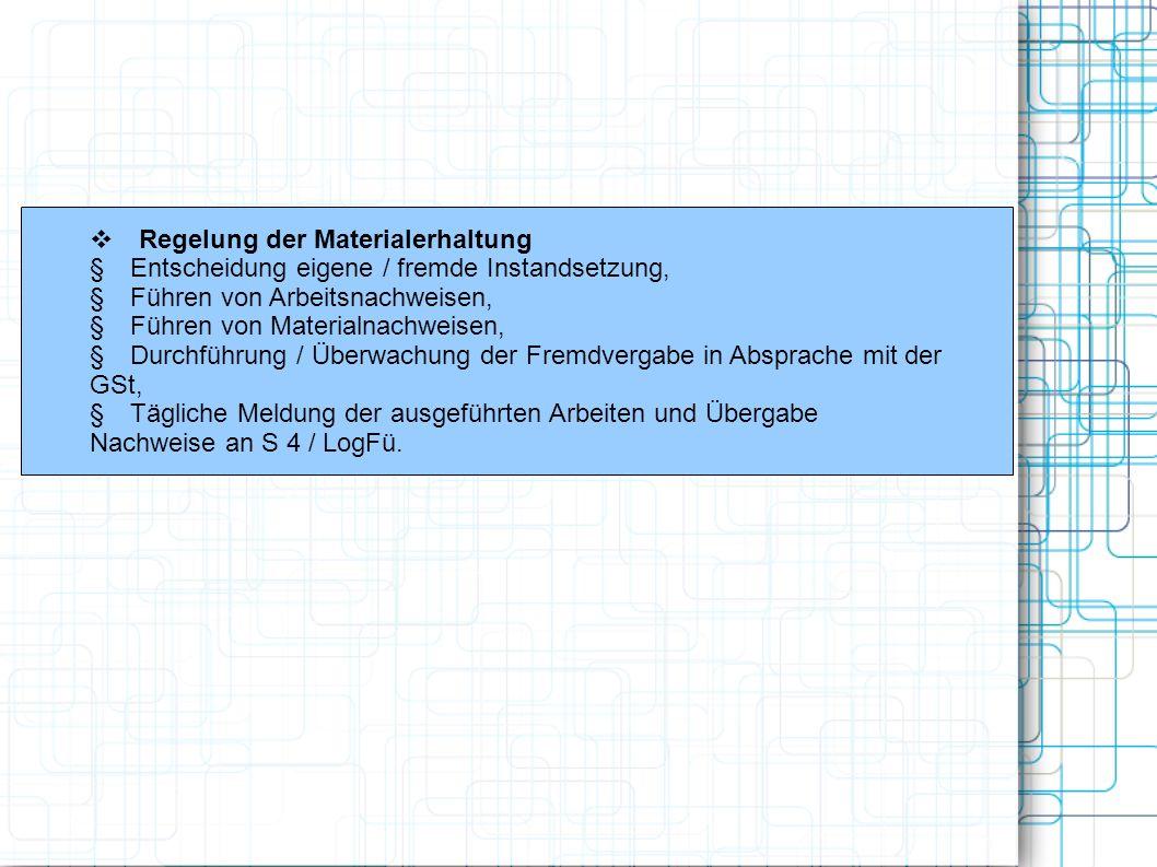 v Regelung der Materialerhaltung