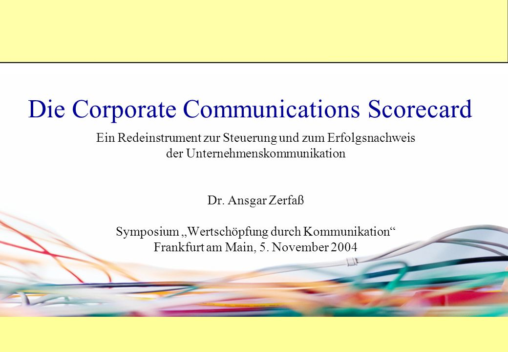 Die Corporate Communications Scorecard