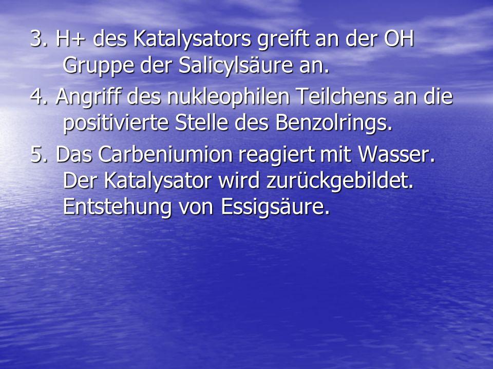 3. H+ des Katalysators greift an der OH Gruppe der Salicylsäure an.