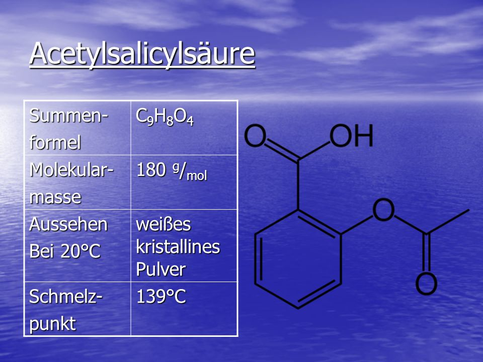 Acetylsalicylsäure Summen- formel C9H8O4 Molekular- masse 180 g/mol