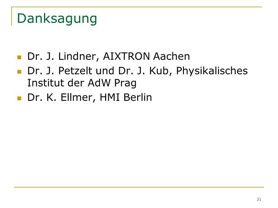 Danksagung Dr. J. Lindner, AIXTRON Aachen