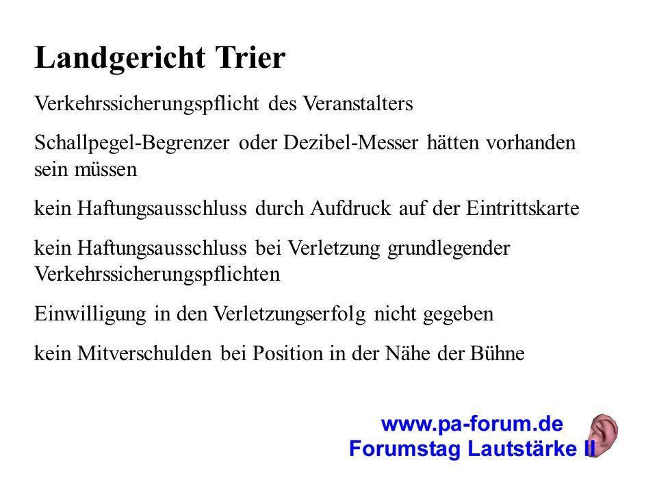 Landgericht Trier Verkehrssicherungspflicht des Veranstalters