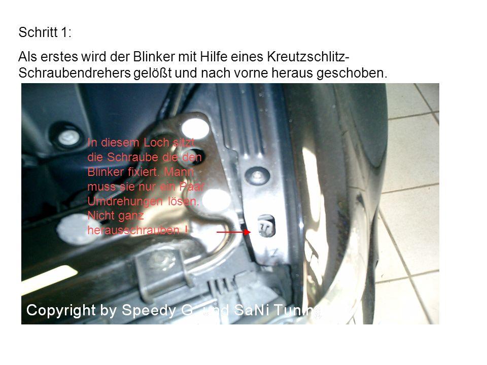Schritt 1: Als erstes wird der Blinker mit Hilfe eines Kreutzschlitz- Schraubendrehers gelößt und nach vorne heraus geschoben.