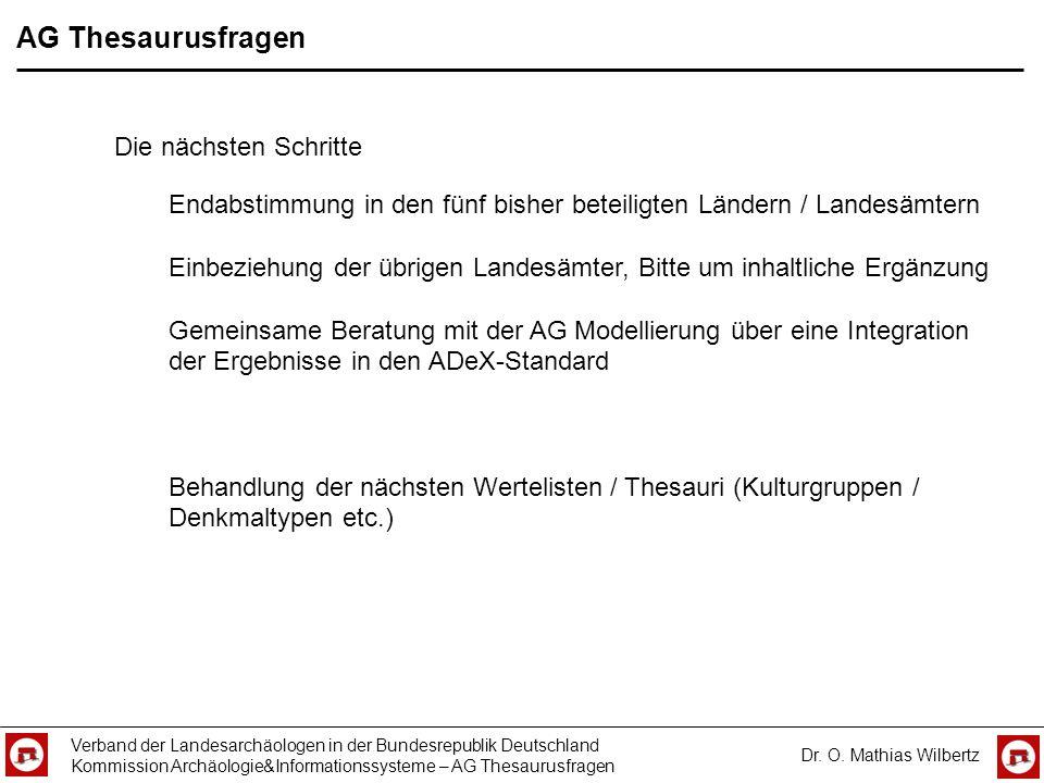 AG Thesaurusfragen Die nächsten Schritte