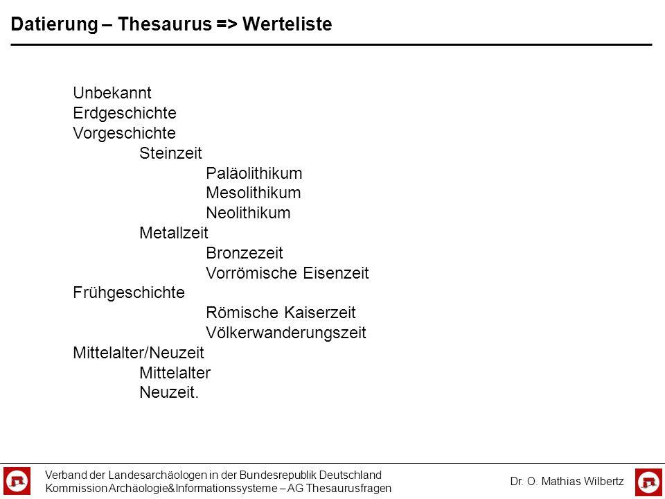 Datierung – Thesaurus => Werteliste