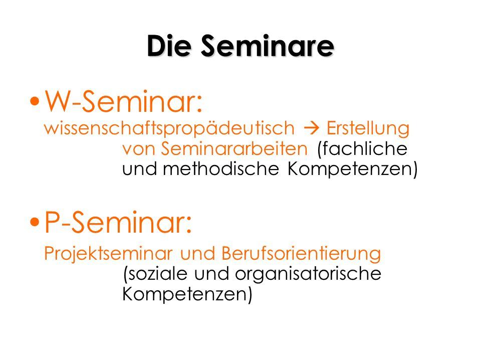 Die SeminareW-Seminar: wissenschaftspropädeutisch  Erstellung von Seminararbeiten (fachliche und methodische Kompetenzen)