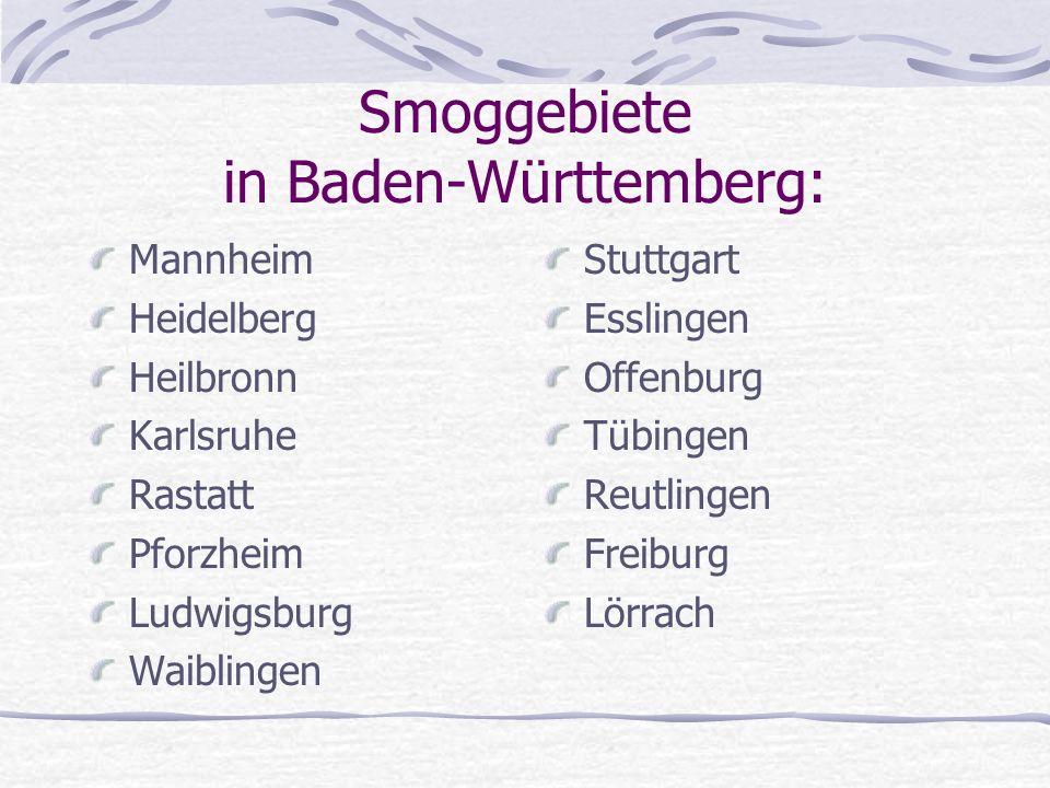 Smoggebiete in Baden-Württemberg: