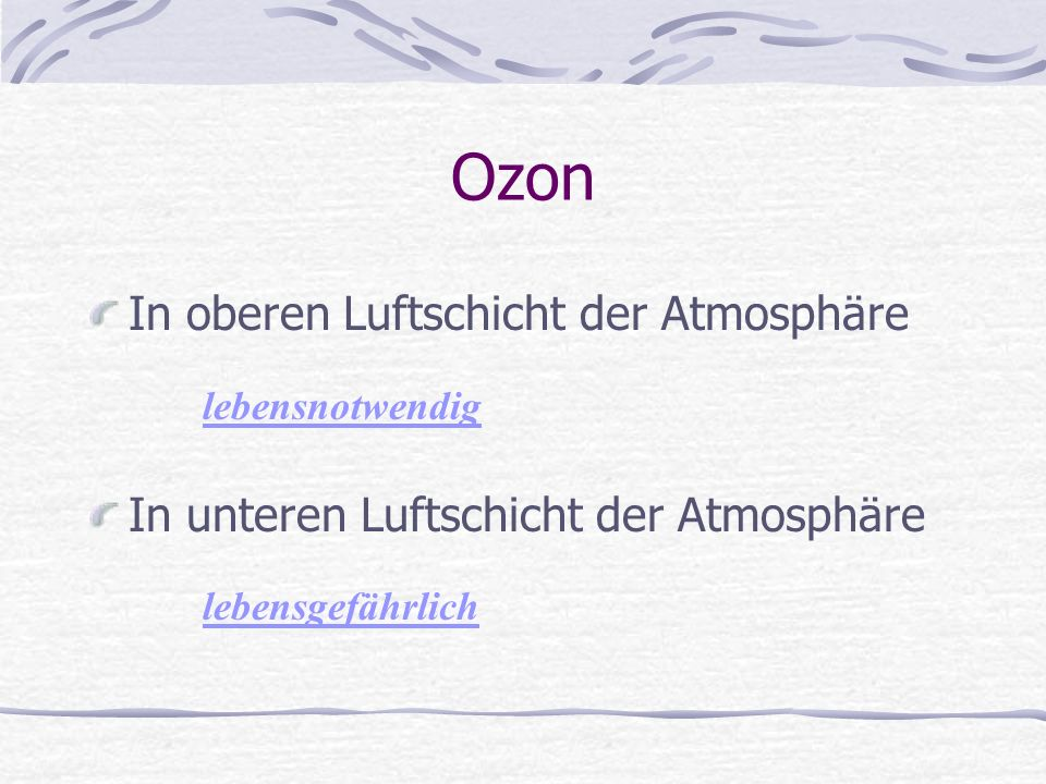 Ozon In oberen Luftschicht der Atmosphäre