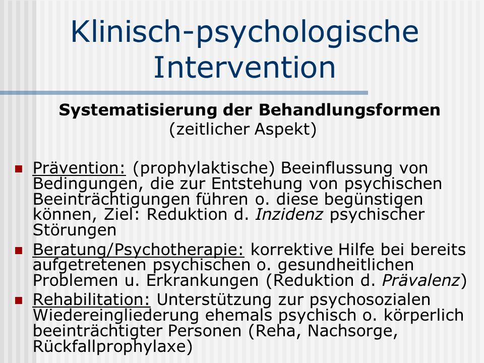 Klinisch-psychologische Intervention