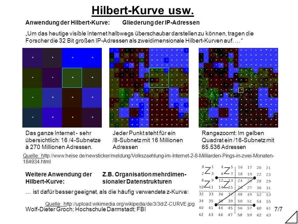 Hilbert-Kurve usw. Quelle: http://www.heise.de/newsticker/meldung/Volkszaehlung-im-Internet-2-8-Milliarden-Pings-in-zwei-Monaten-184934.html.