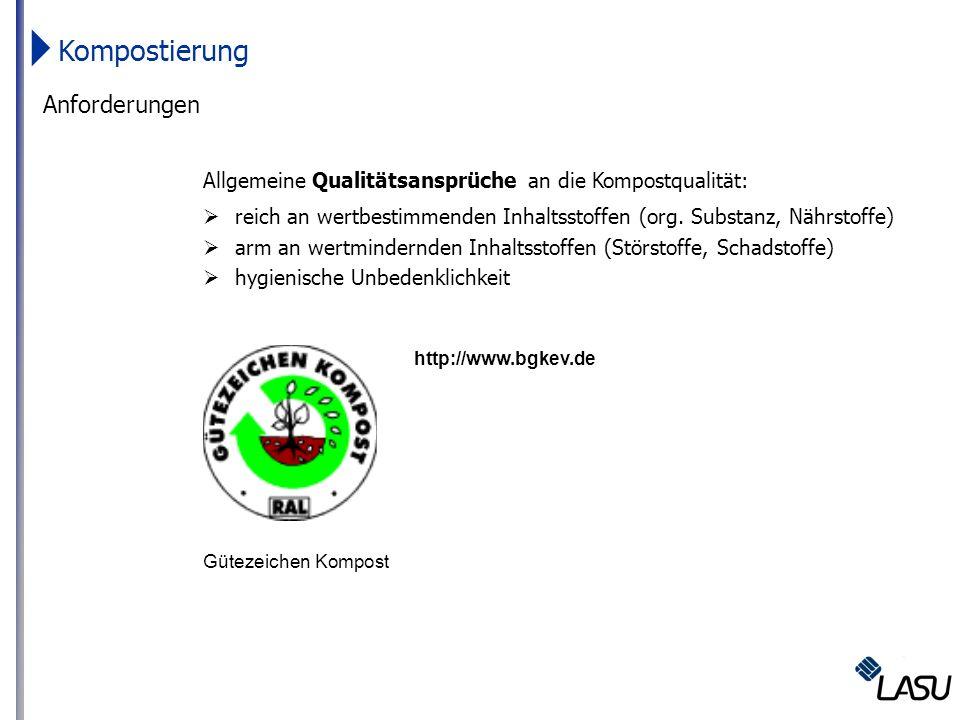 Kompostierung Anforderungen