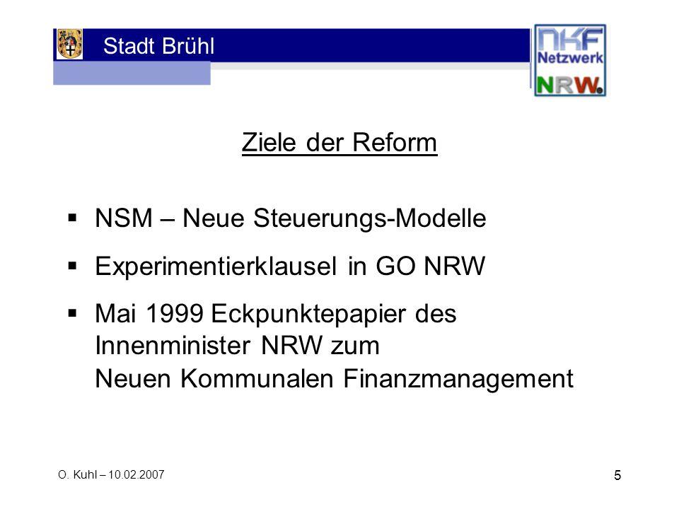 NSM – Neue Steuerungs-Modelle Experimentierklausel in GO NRW