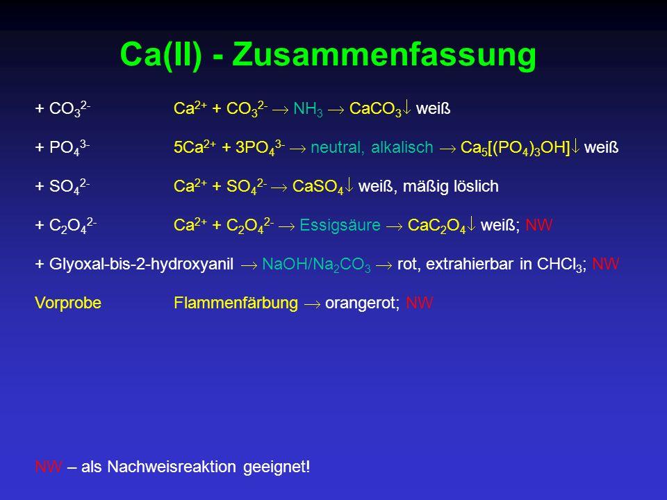 Ca(II) - Zusammenfassung