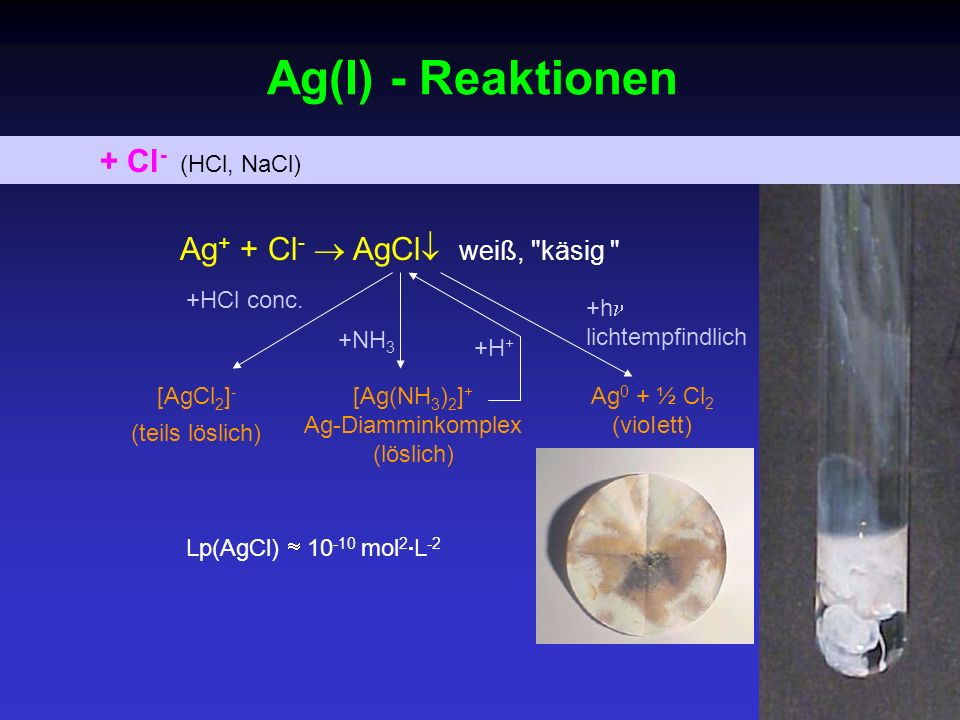 Ag(I) - Reaktionen + Cl- (HCl, NaCl) Ag+ + Cl-  AgCl weiß, käsig