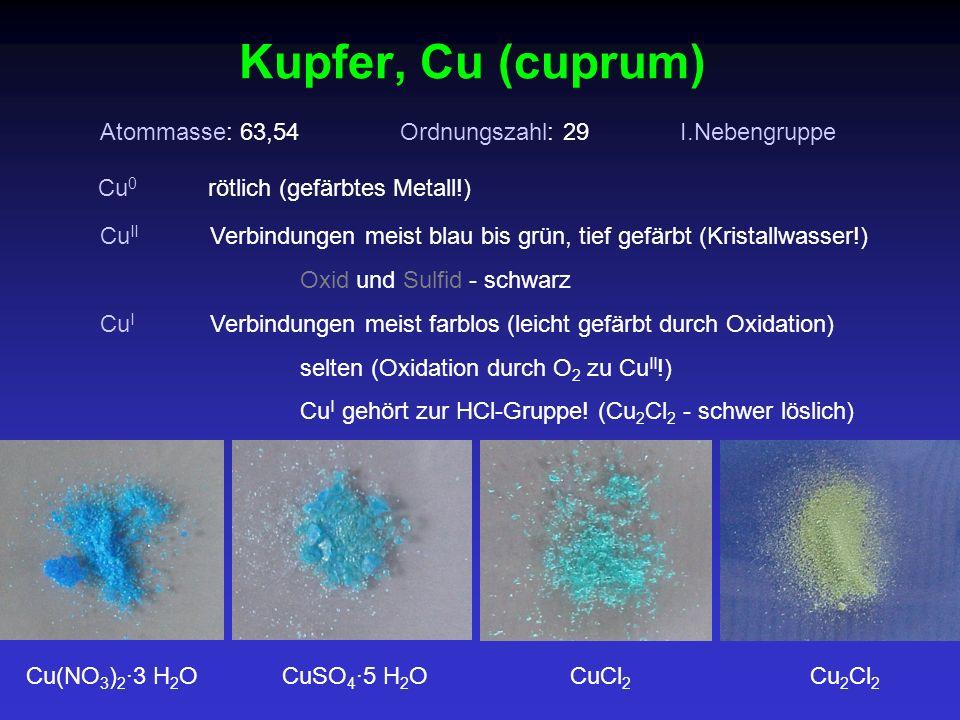 Kupfer, Cu (cuprum) Atommasse: 63,54 Ordnungszahl: 29 I.Nebengruppe