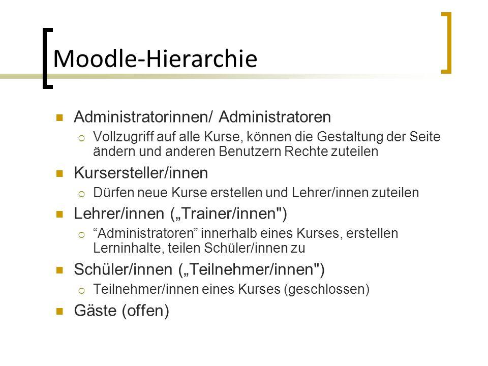Moodle-Hierarchie Administratorinnen/ Administratoren