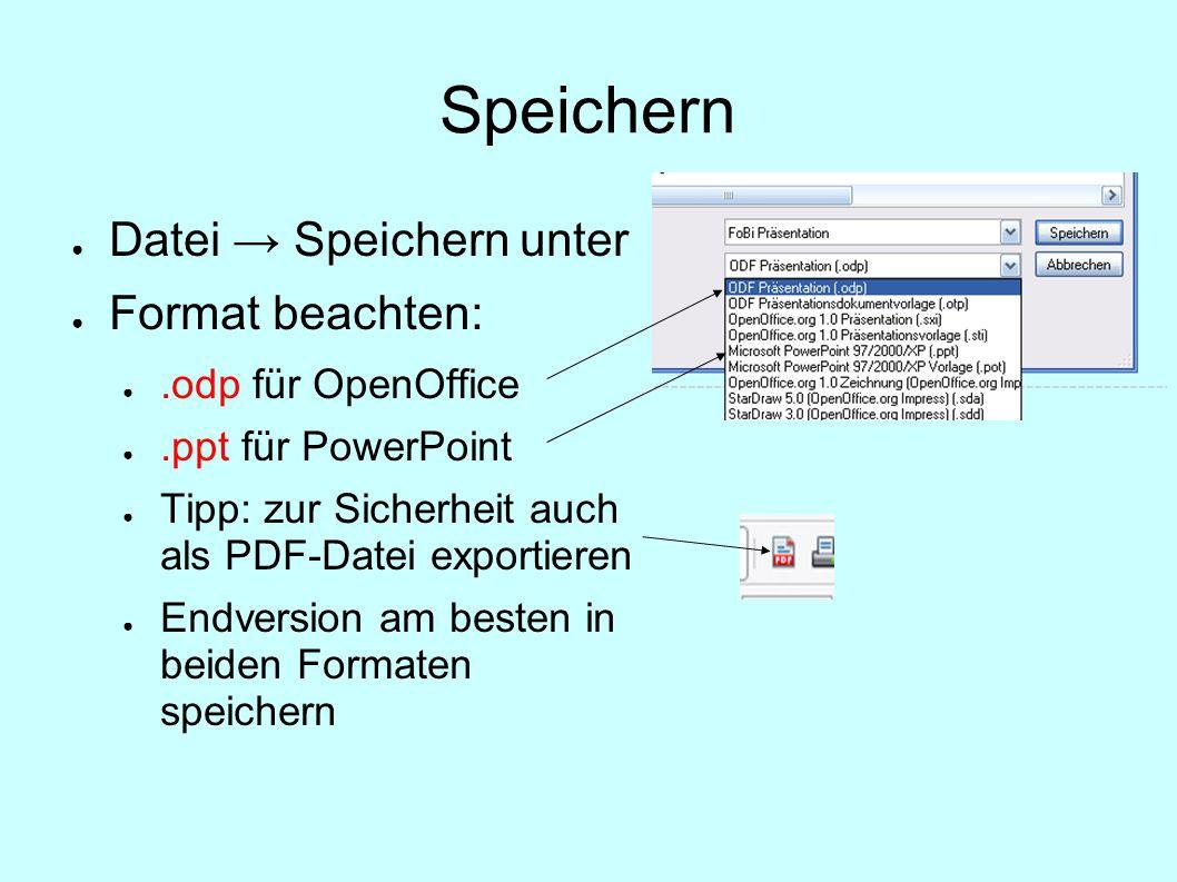 Speichern Datei → Speichern unter Format beachten: .odp für OpenOffice