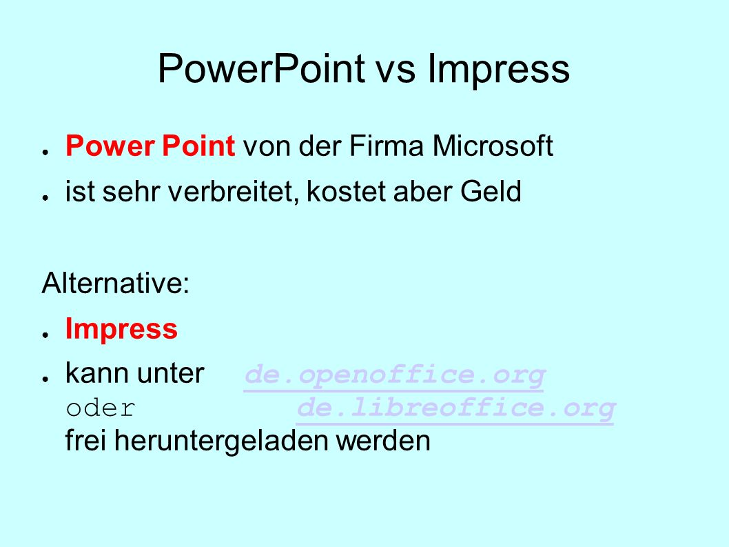 PowerPoint vs Impress Power Point von der Firma Microsoft