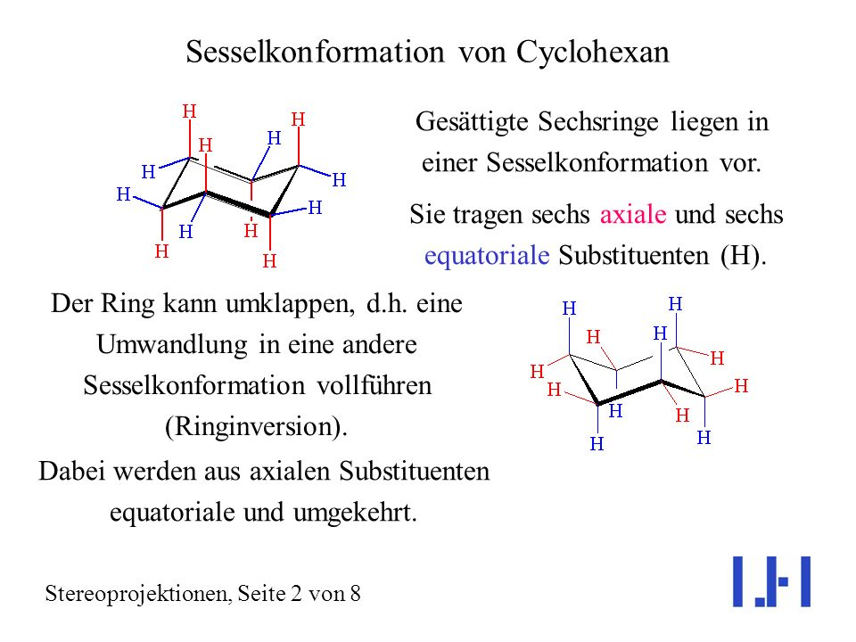 Sesselkonformation von Cyclohexan