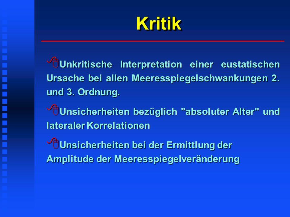Kritik Unkritische Interpretation einer eustatischen Ursache bei allen Meeresspiegelschwankungen 2. und 3. Ordnung.