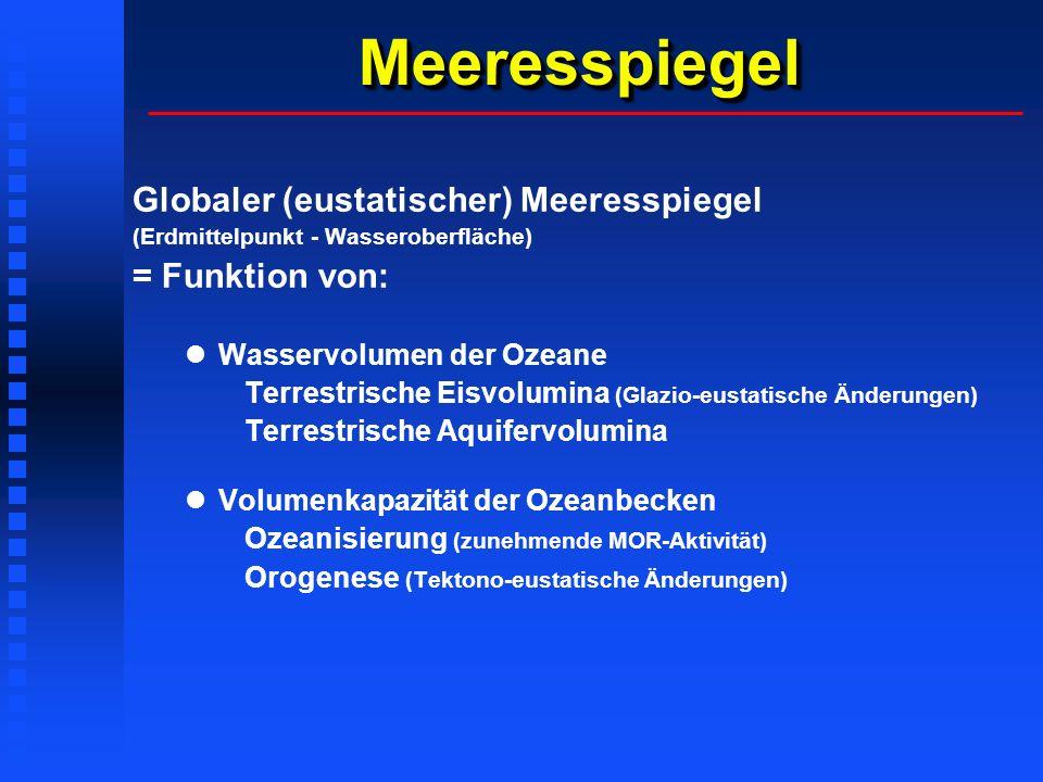 Meeresspiegel Globaler (eustatischer) Meeresspiegel = Funktion von: