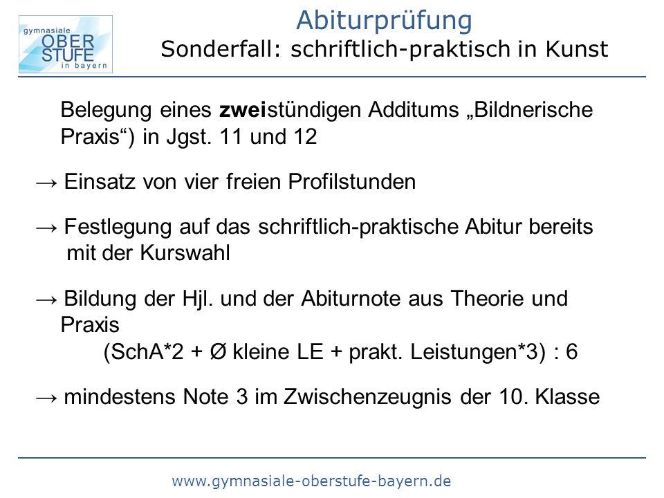 Abiturprüfung Sonderfall: schriftlich-praktisch in Kunst