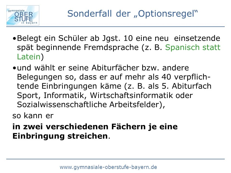 "Sonderfall der ""Optionsregel"