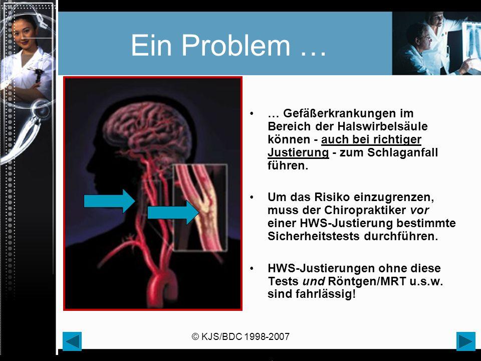 Ein Problem … … Gefäßerkrankungen im Bereich der Halswirbelsäule können - auch bei richtiger Justierung - zum Schlaganfall führen.