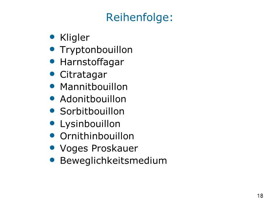 Reihenfolge: Kligler Tryptonbouillon Harnstoffagar Citratagar