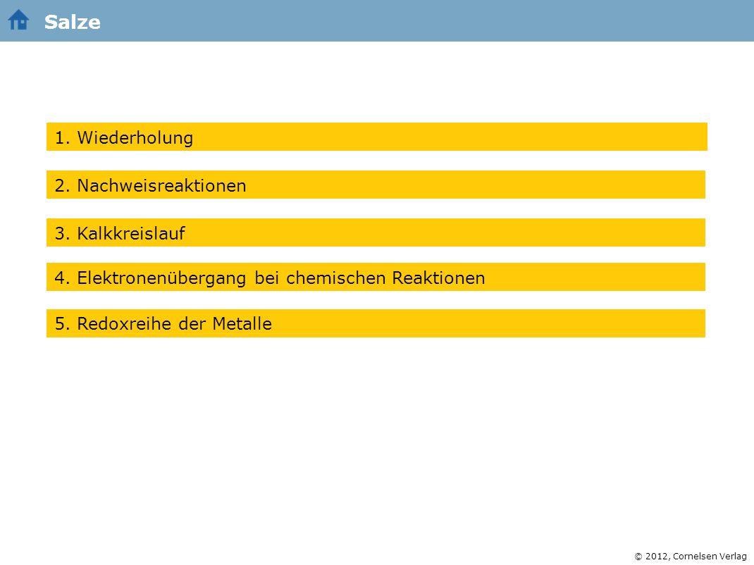 Salze 1. Wiederholung 2. Nachweisreaktionen 3. Kalkkreislauf