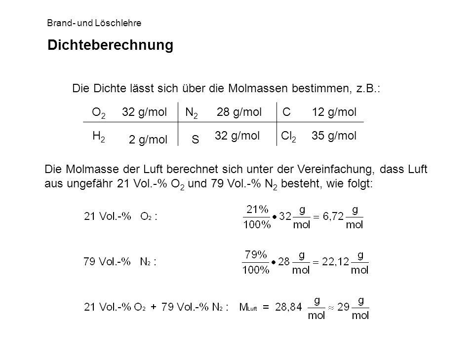 DichteberechnungDie Dichte lässt sich über die Molmassen bestimmen, z.B.: 2 g/mol. S. O2. 32 g/mol.