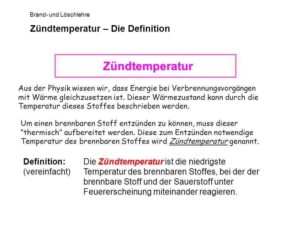 Zündtemperatur – Die Definition
