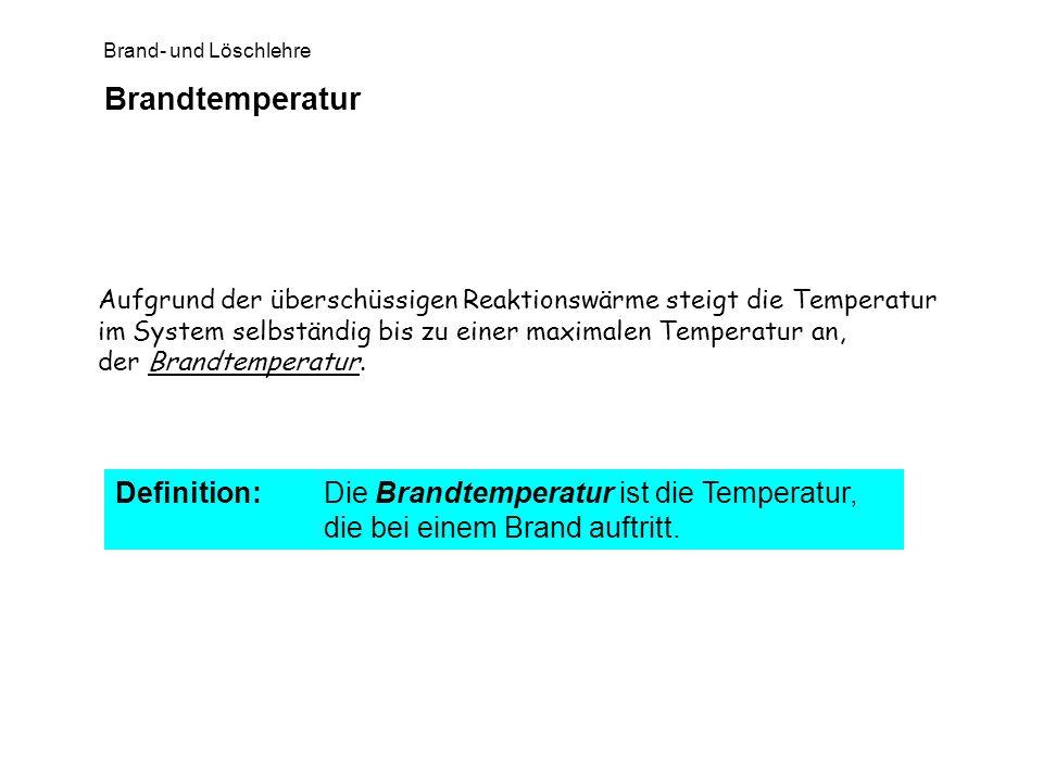 Brandtemperatur Aufgrund der überschüssigen Reaktionswärme steigt die Temperatur im System selbständig bis zu einer maximalen Temperatur an,