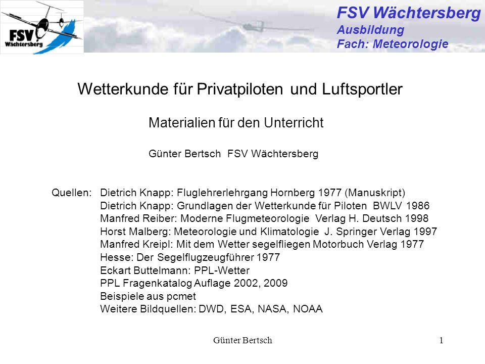 FSV Wächtersberg Wetterkunde für Privatpiloten und Luftsportler