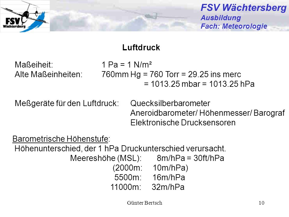 FSV Wächtersberg Luftdruck Maßeiheit: 1 Pa = 1 N/m²