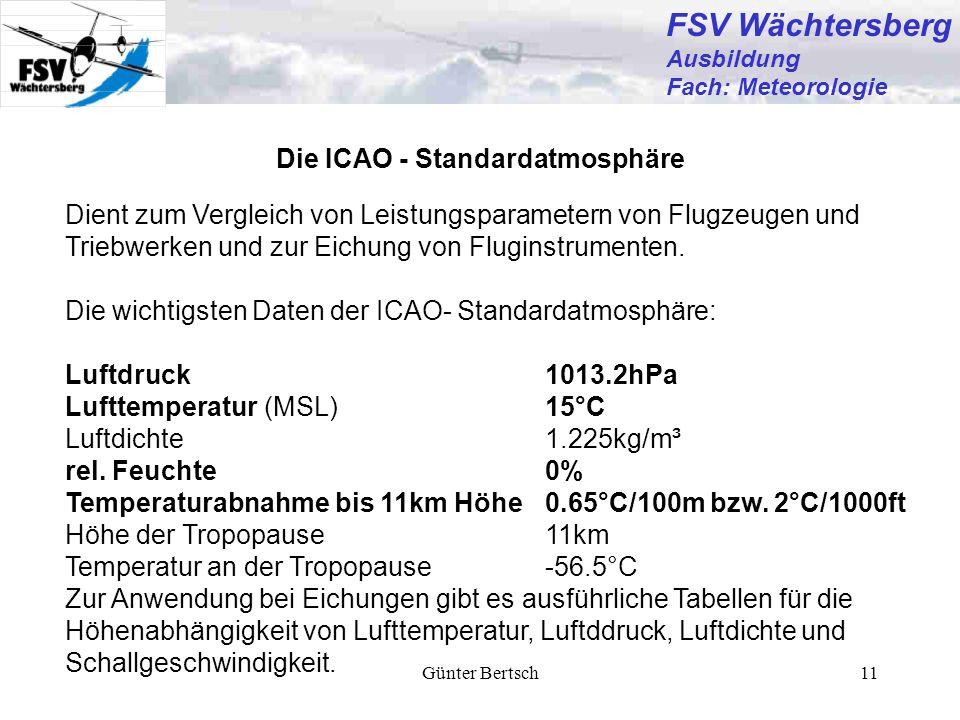 FSV Wächtersberg Die ICAO - Standardatmosphäre