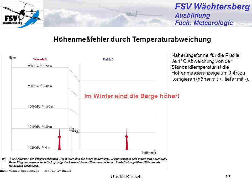 FSV Wächtersberg Höhenmeßfehler durch Temperaturabweichung Ausbildung