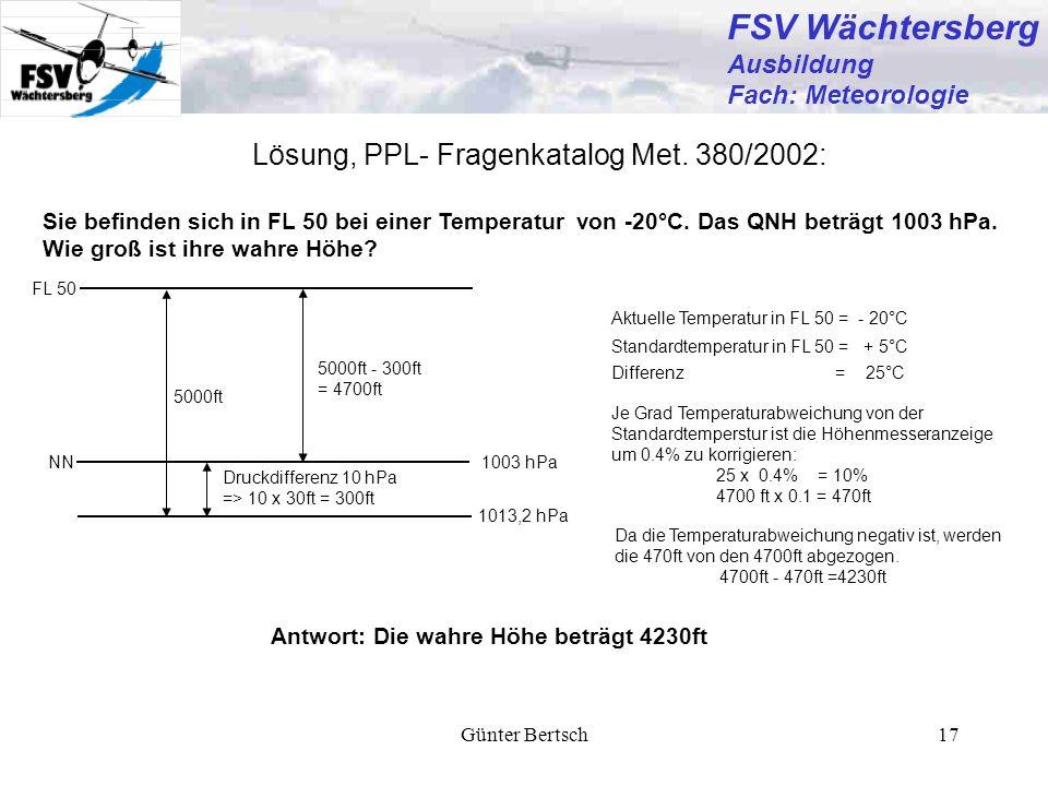 FSV Wächtersberg Lösung, PPL- Fragenkatalog Met. 380/2002: Ausbildung
