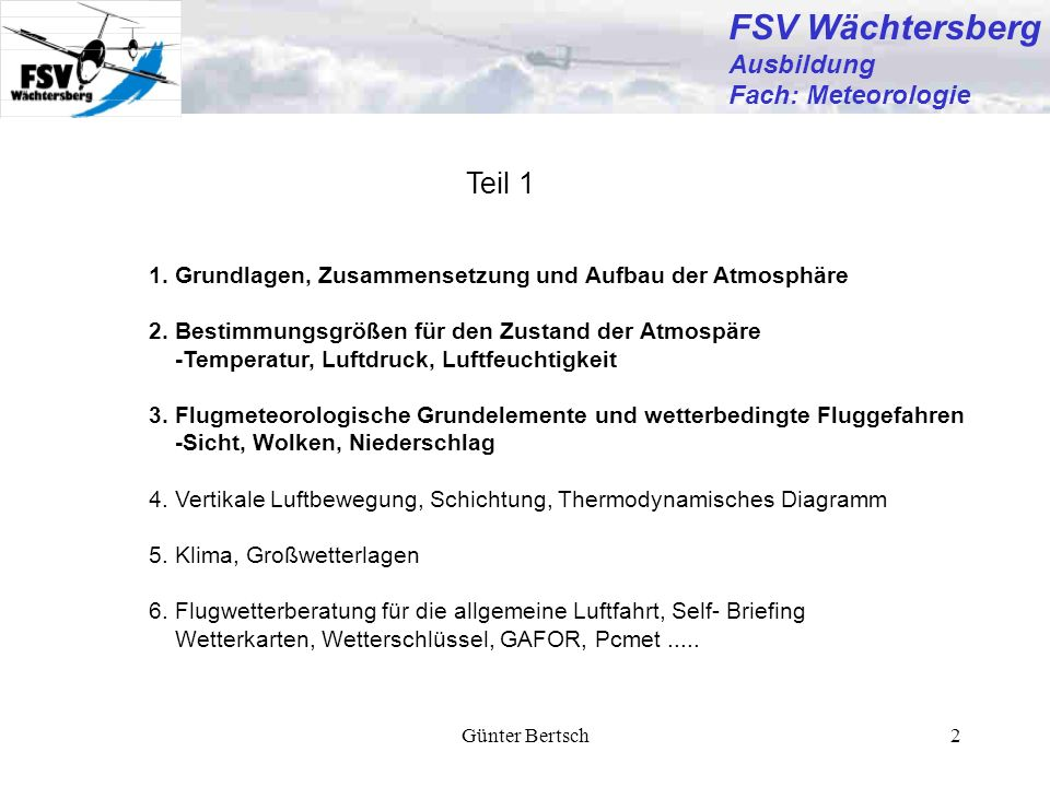 FSV Wächtersberg Teil 1 Ausbildung Fach: Meteorologie