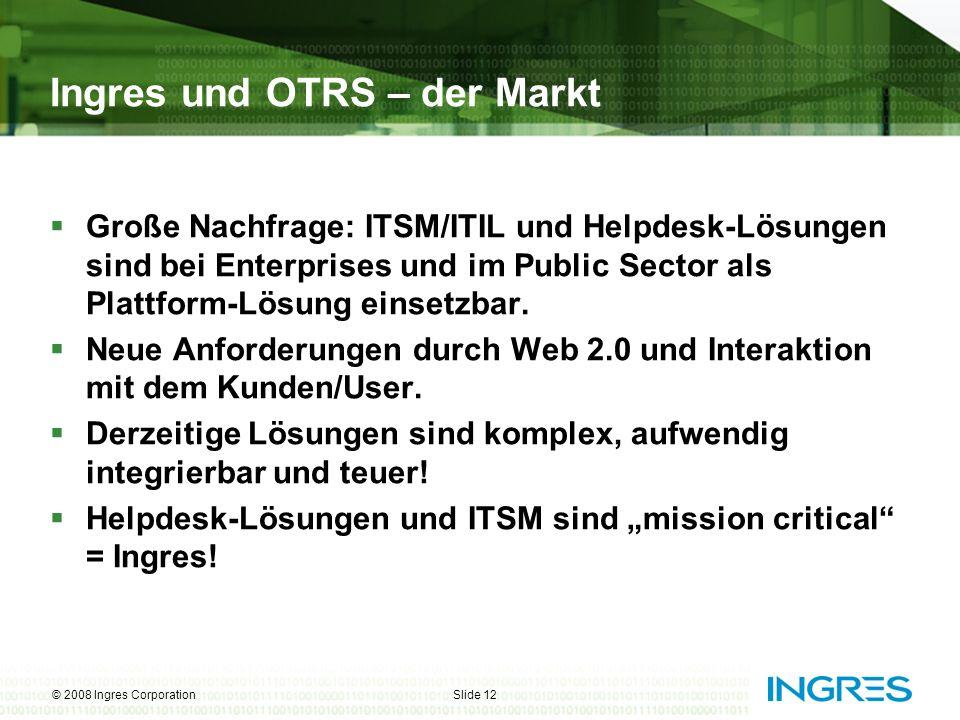 Ingres und OTRS – der Markt
