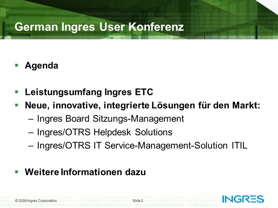 German Ingres User Konferenz