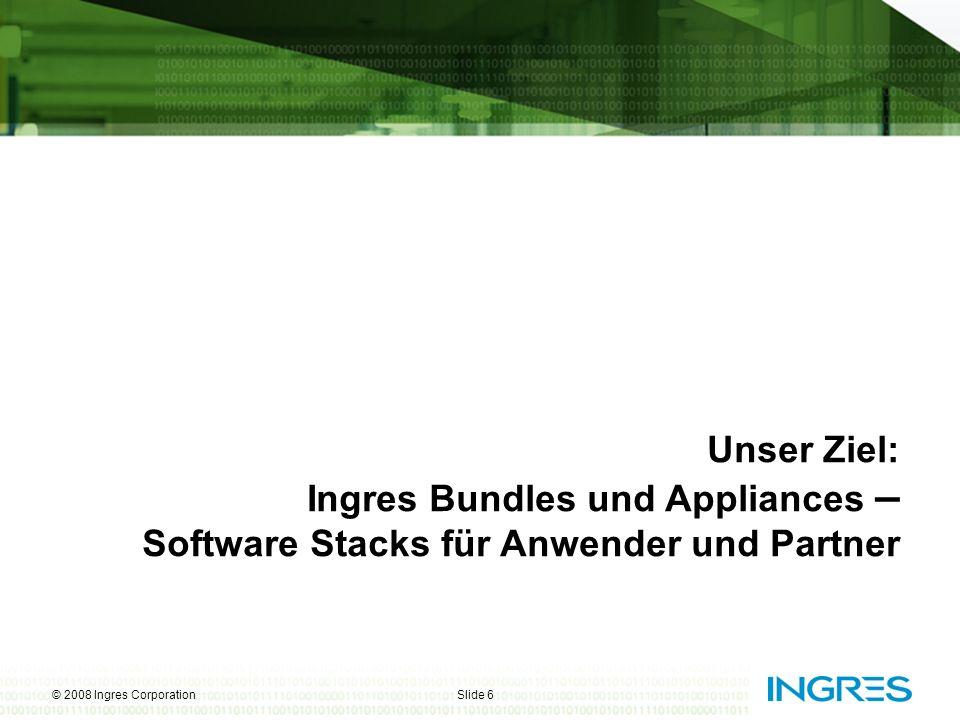 Unser Ziel: Ingres Bundles und Appliances – Software Stacks für Anwender und Partner