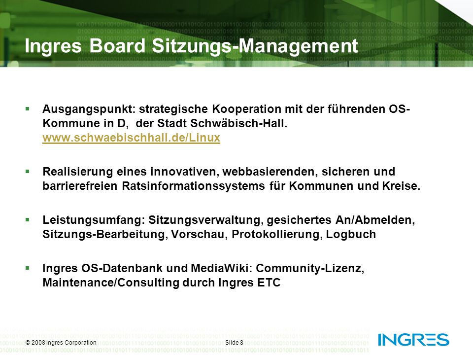 Ingres Board Sitzungs-Management