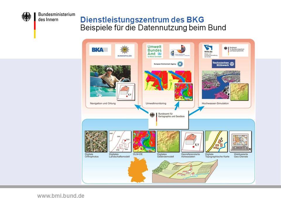 Dienstleistungszentrum des BKG Beispiele für die Datennutzung beim Bund