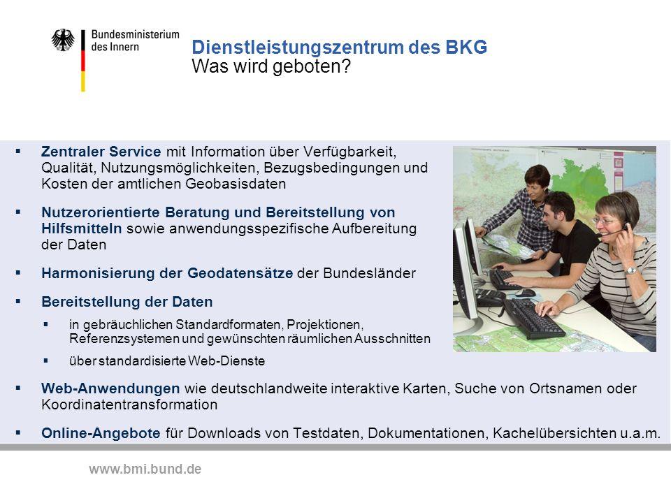 Dienstleistungszentrum des BKG Was wird geboten