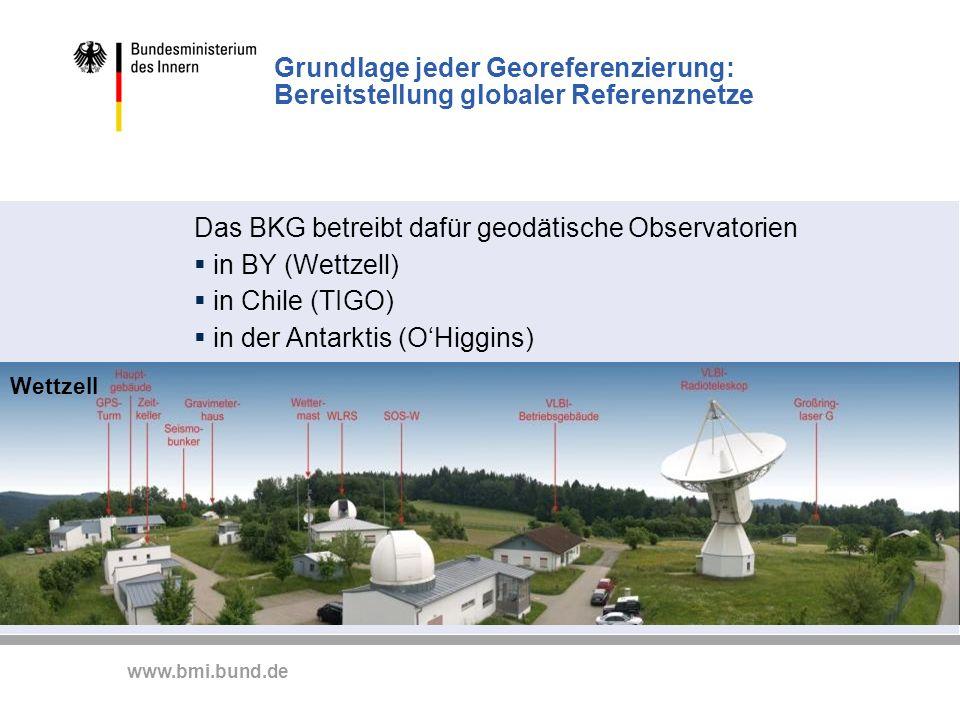 Das BKG betreibt dafür geodätische Observatorien in BY (Wettzell)