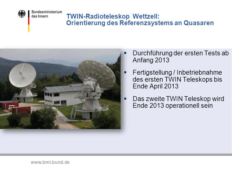 TWIN-Radioteleskop Wettzell: Orientierung des Referenzsystems an Quasaren