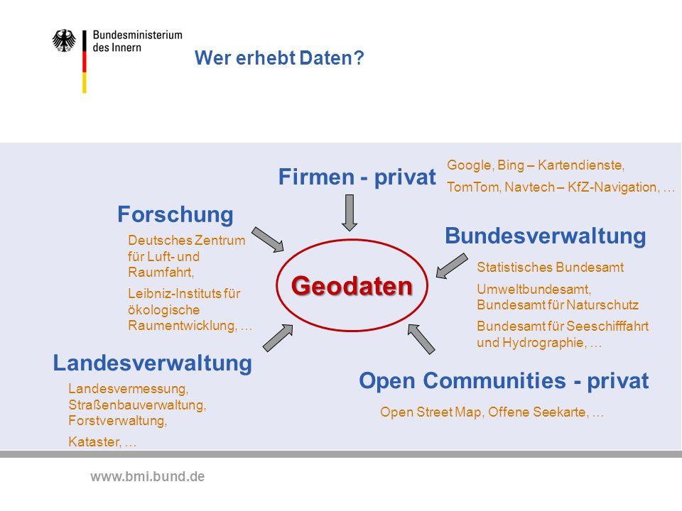 Geodaten Firmen - privat Forschung Bundesverwaltung Landesverwaltung