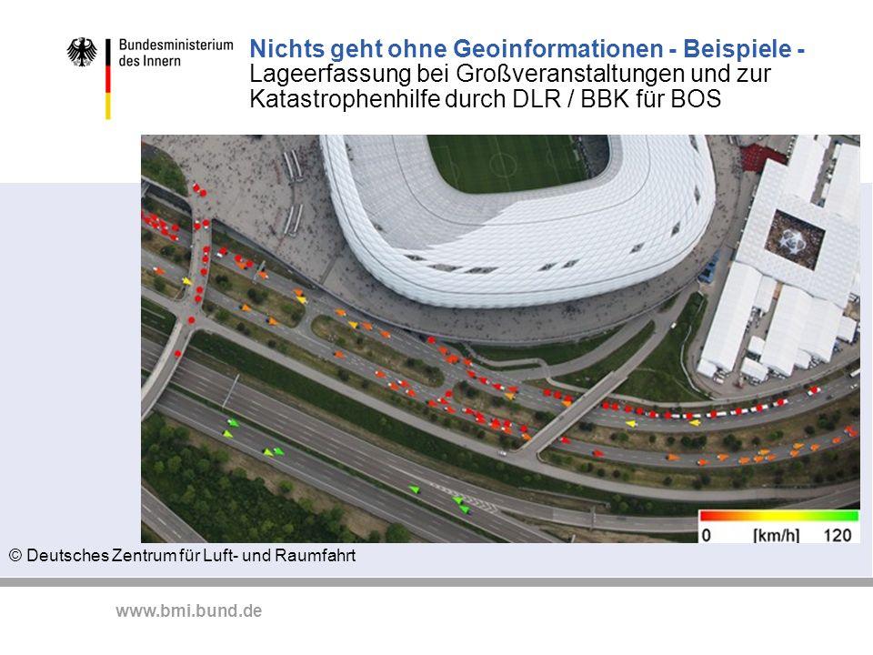 Nichts geht ohne Geoinformationen - Beispiele - Lageerfassung bei Großveranstaltungen und zur Katastrophenhilfe durch DLR / BBK für BOS