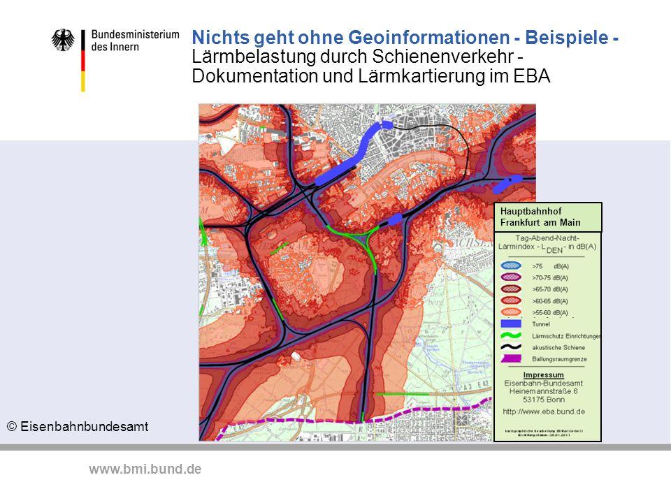 Nichts geht ohne Geoinformationen - Beispiele - Lärmbelastung durch Schienenverkehr - Dokumentation und Lärmkartierung im EBA